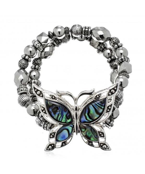 PammyJ Abalone Butterfly Silvertone Bracelet