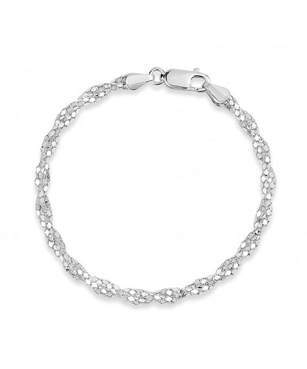 Sterling Silver Diamond Popcorn Bracelet