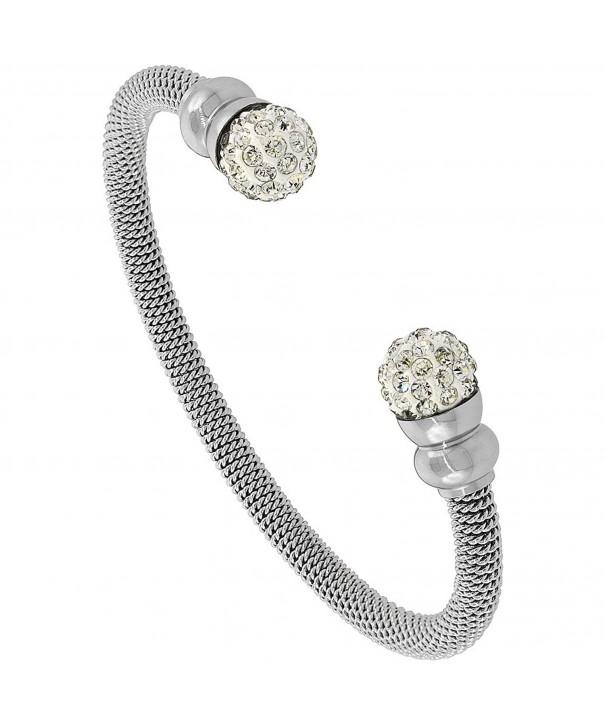 Stainless Crystal Bracelet Polished Finish