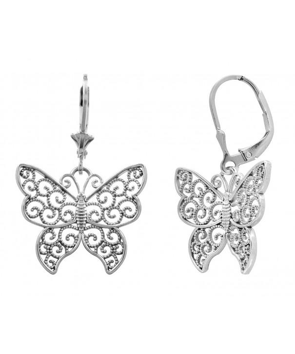 Sterling Filigree Butterfly Leverback Earrings