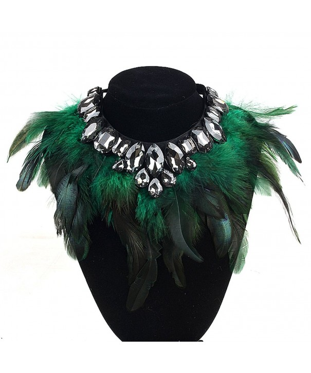 ZMZY Crystal Feather Necklace Collar