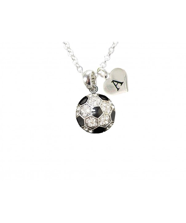 Custom Crystal Soccer Necklace Initial