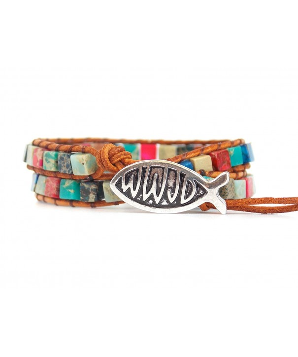 WWJD Bracelet Leather Rainbow Beads