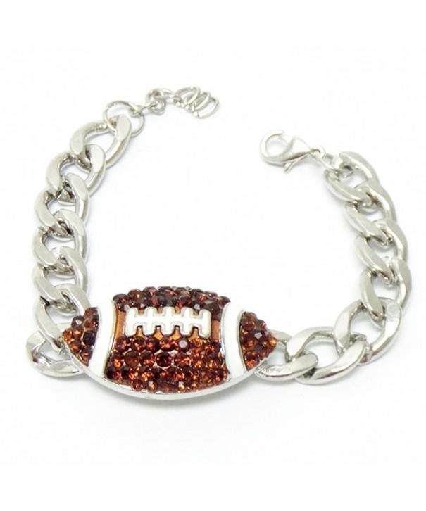 Football Bracelet Chunky Crystal Silver