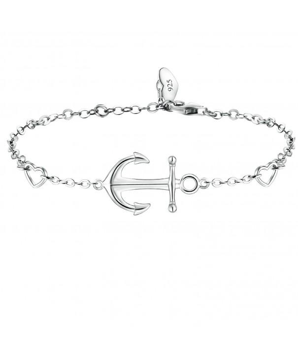 BlingGem Sterling Silver Anchor Bracelet