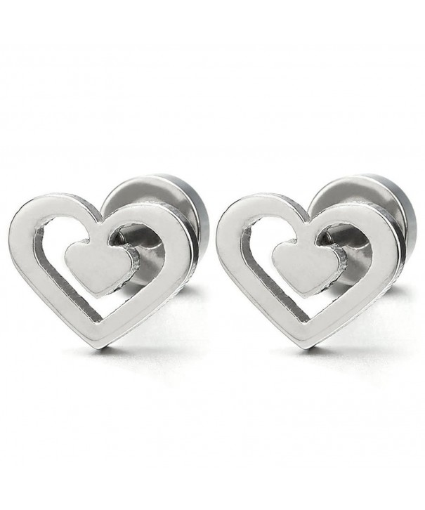 Stainless Steel Double Heart Earrings