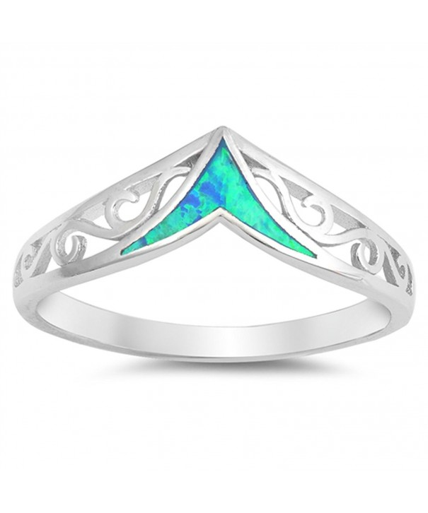 Simulated Filigree Chevron Sterling Silver