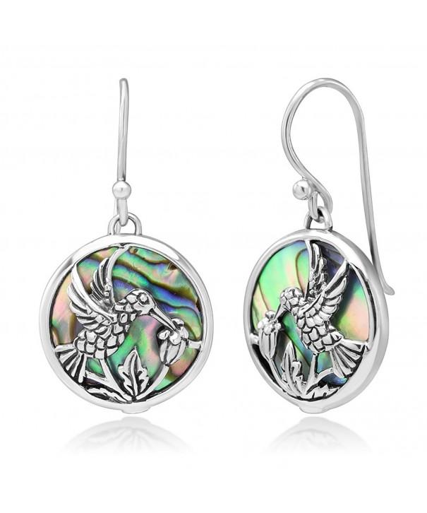 Sterling Hummingbird Drinking Abalone Earrings