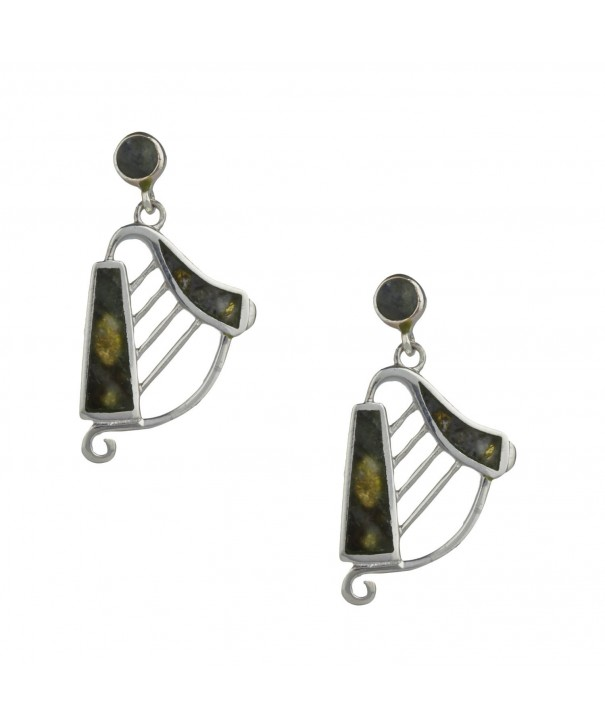 Harp Earrings Silver Connemara Marble