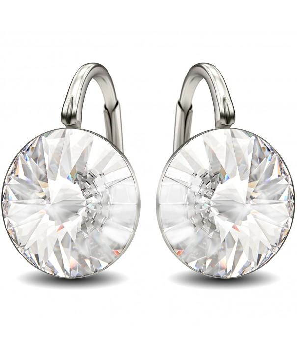 Sterling Swarovski Crystals Leverback Earrings