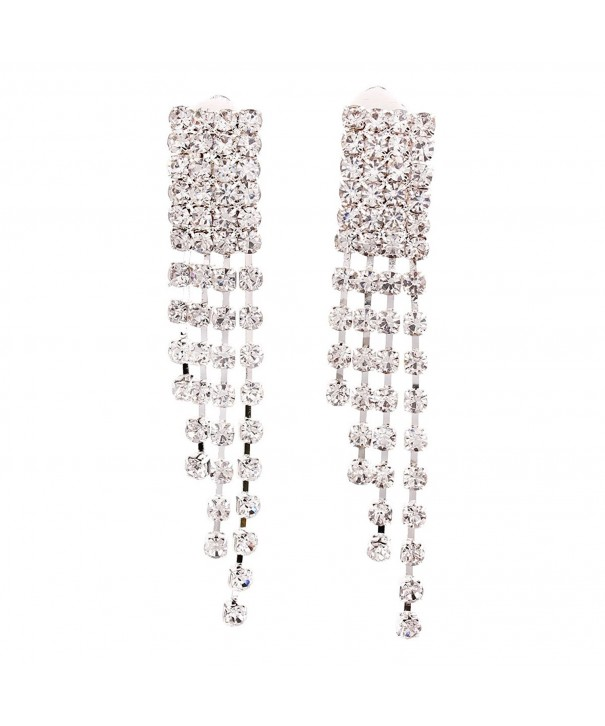 Earrings Rhinestone Rectagle Pierced Jewelry