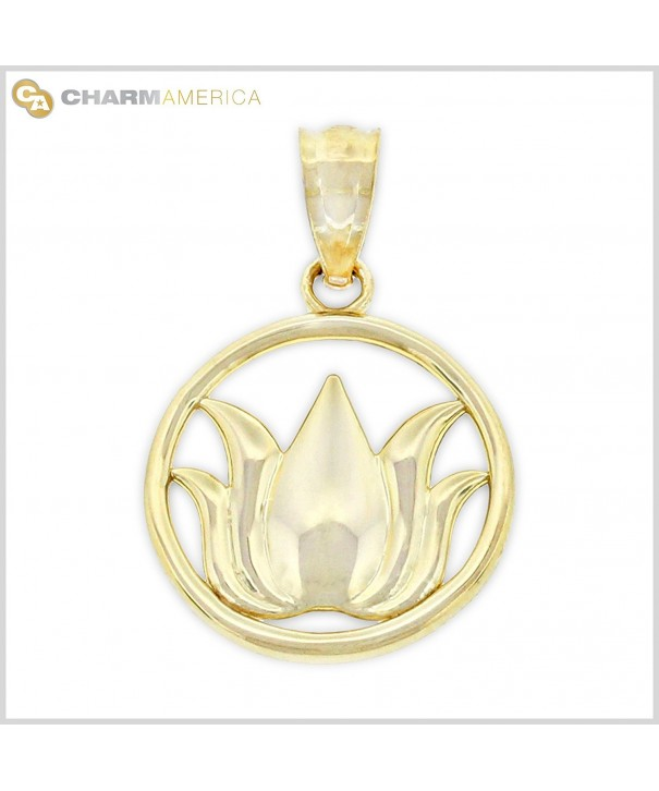Gold Lotus Flower Charm Solid
