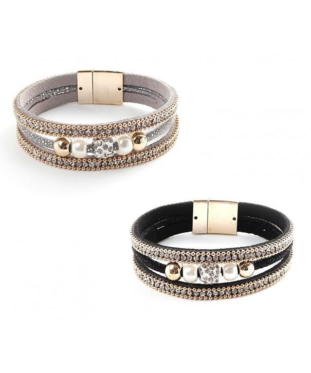 Velvet Imitation Rhinestone Bracelet Plated