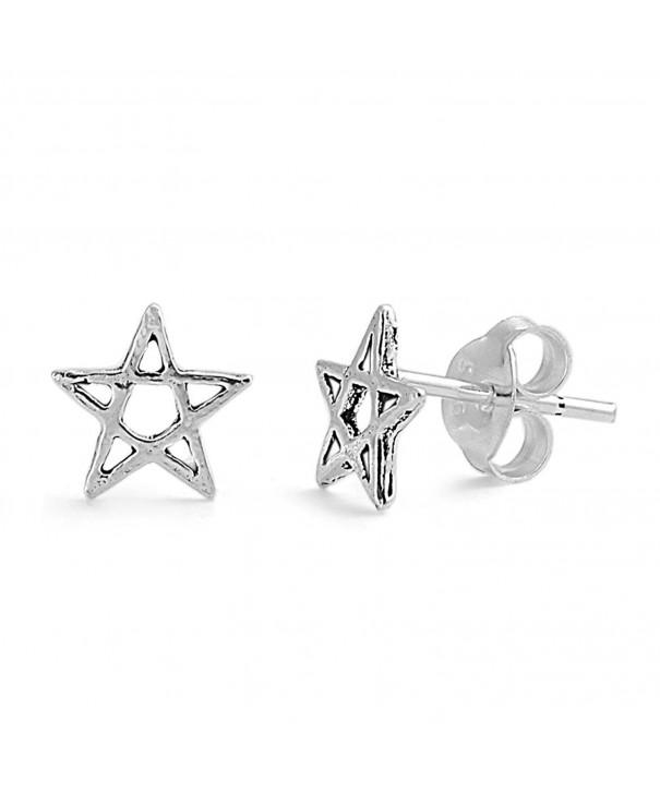 Sterling Silver Wicca Star Earrings