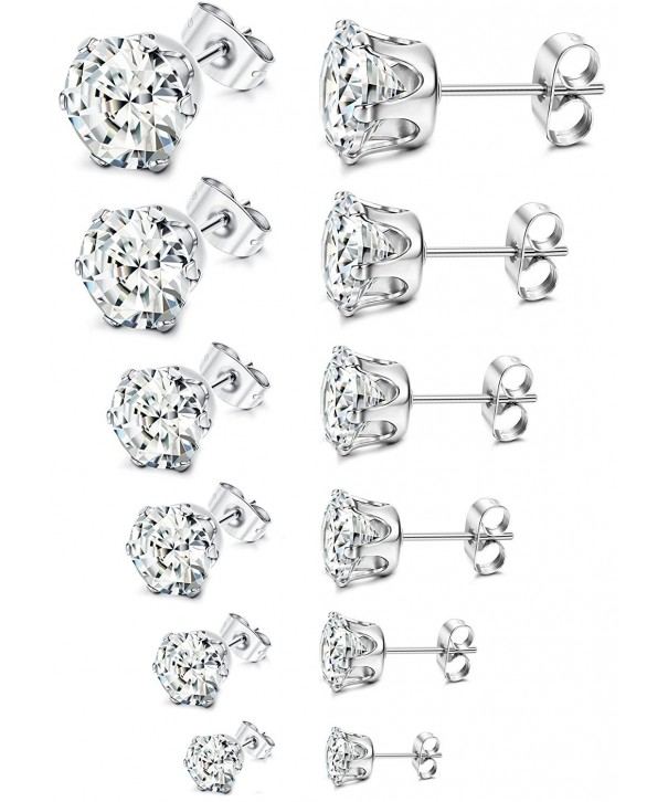 Stainless Steel Womens Stud Earrings Cubic Zirconia Inlaid 3mm 8mm 6 Pairs A1 A Set Co12bv6ek3l