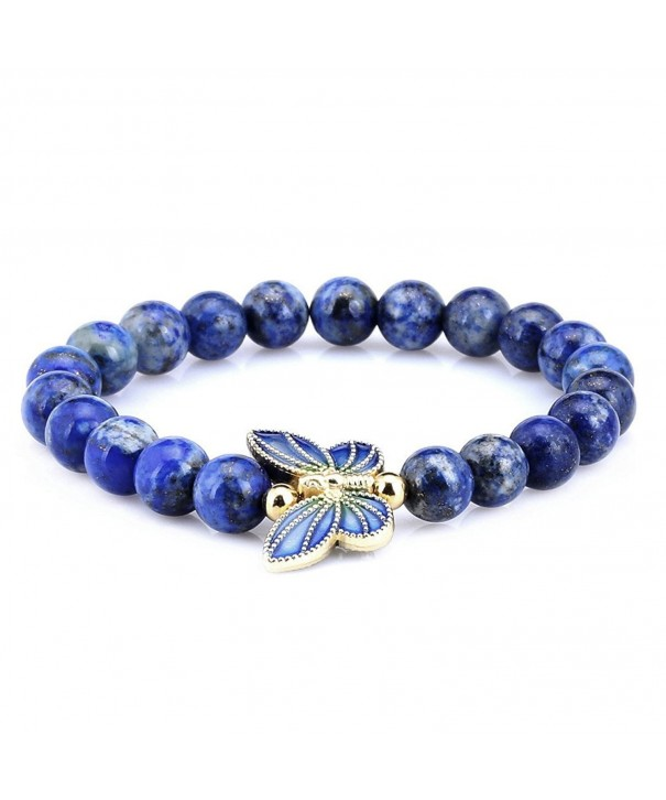 Simulated Lapis Sterling Cloisonne Butterfly Bracelet
