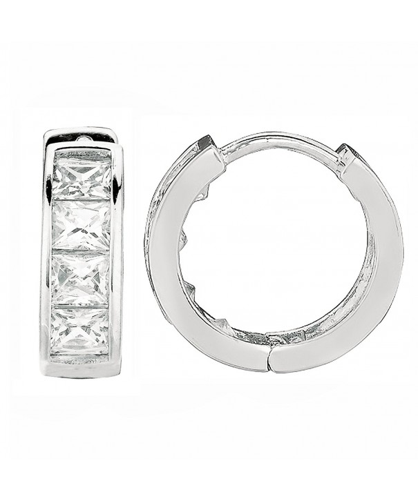 Sterling Princess cut Zirconia Huggies Earrings