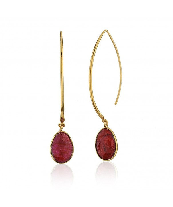 Gold Plated Simulated Gemstones Dangle Earrings