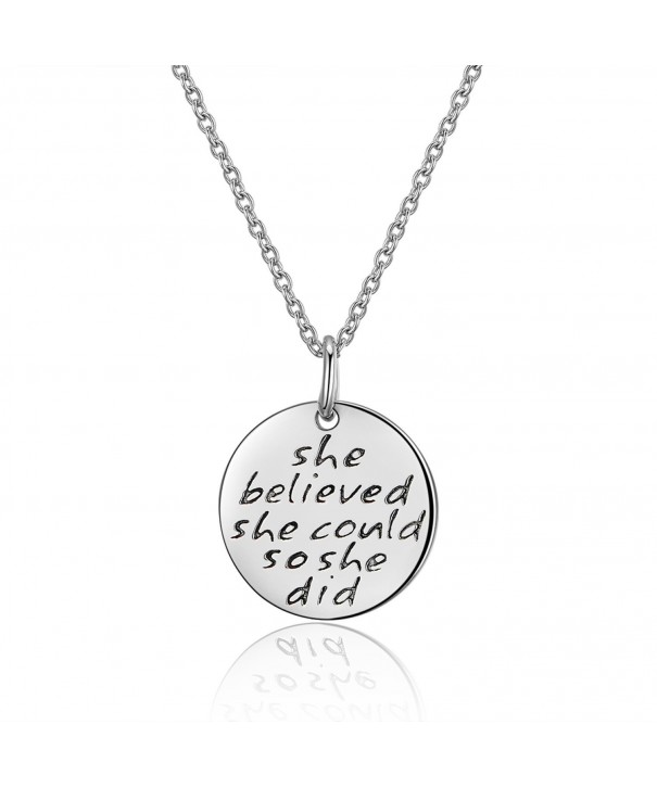 Sterling Engraved believed Inspirational Necklace