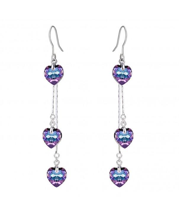 FANZE Silver Tone Earrings Swarovski Crystal