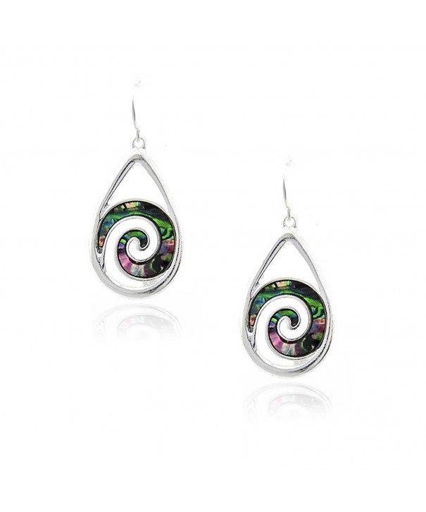 Silver Teardrop Earrings Abalone Spirals
