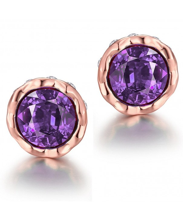 Earrings Women Purple Crystal Round