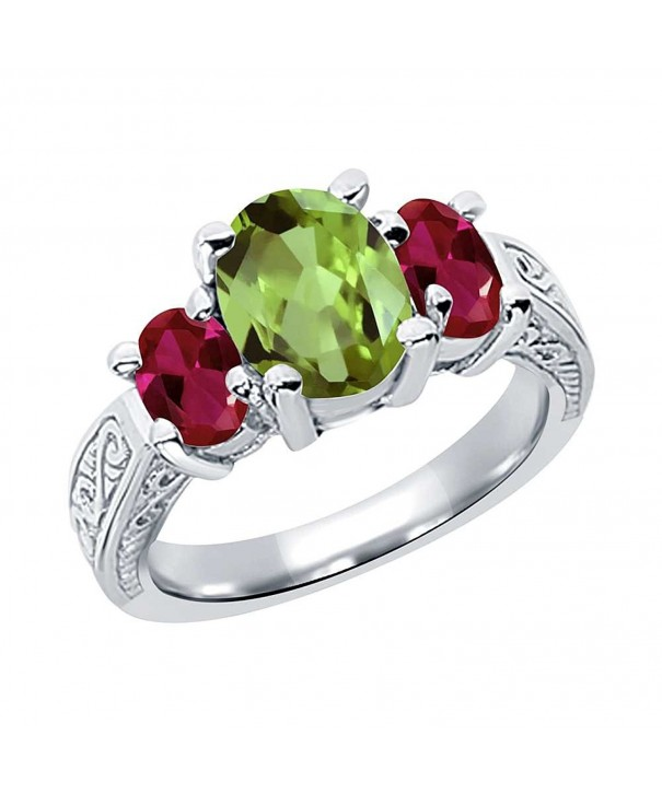 Peridot Created Sterling Silver 3 Stone