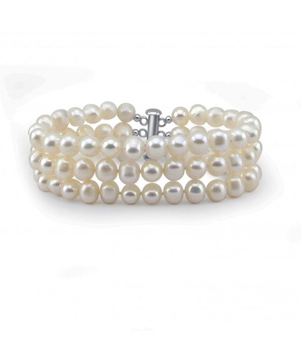 3 Row 6 5 7mm Freshwater Cultured Bracelet