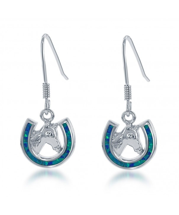 Sterling Silver Created Horseshoe Earrings