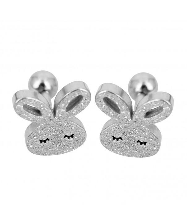 Bonnie Stainless Rabbit Screwback Earrings