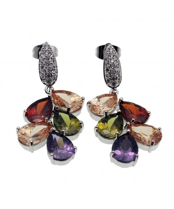 Ladies Earrings Silver Zirconia Amethyst