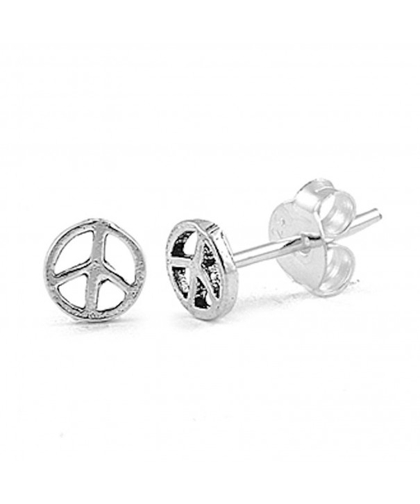 Small Peace Earrings Sterling Silver