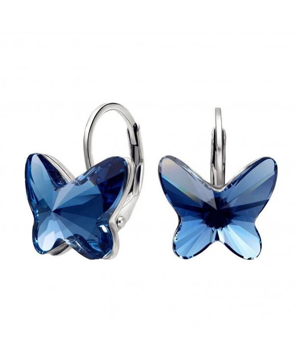 EleQueen Sterling Butterfly Earrings Swarovski