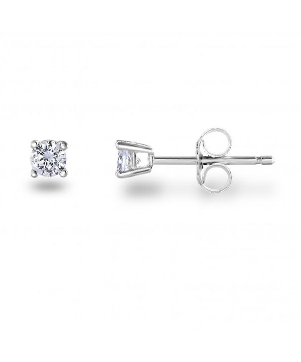 Rhodium Sterling Zirconia Classic Earrings