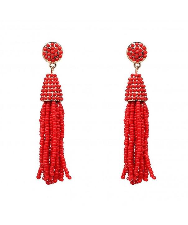 MELUOGE Womens Beaded Tassel Earrings