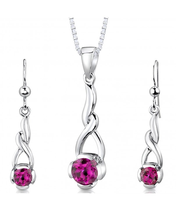 Sterling Rhodium Created Earrings Necklace