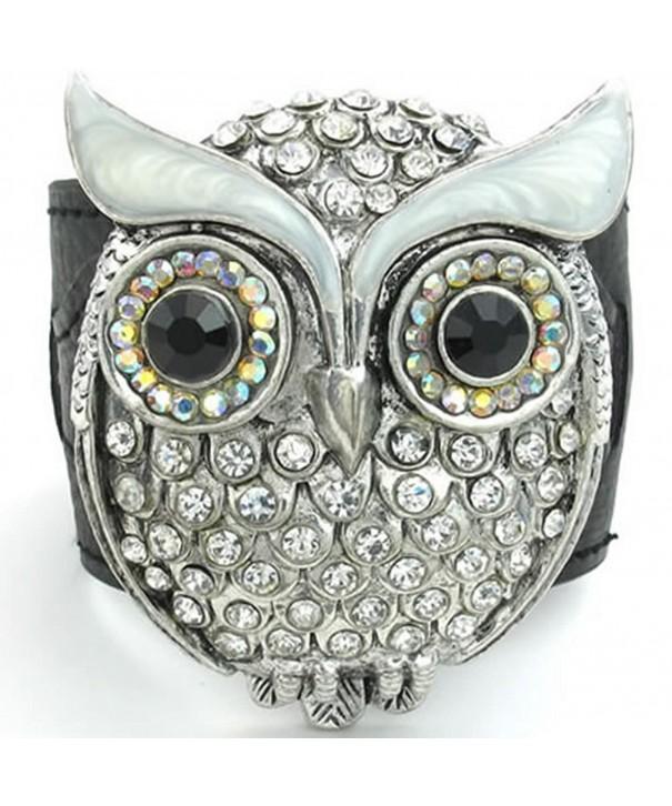 KONOV Womens Crystal Leather Bracelet