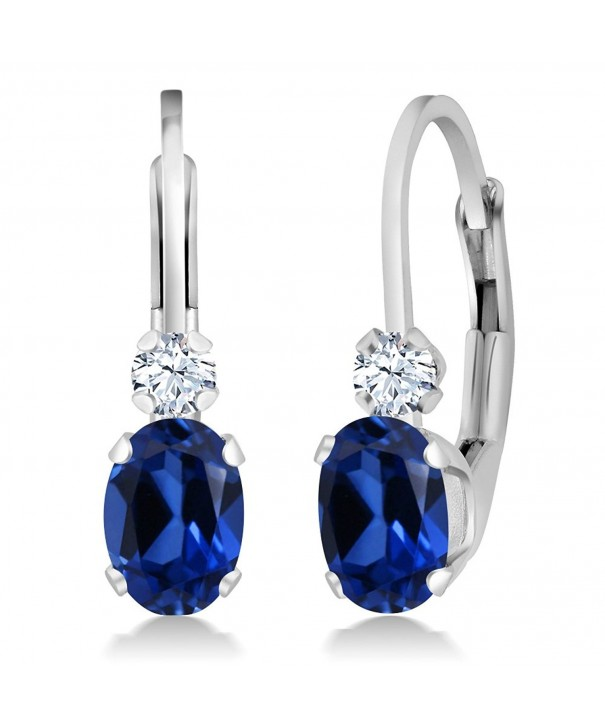 Created Sapphire Sterling Leverback Earrings