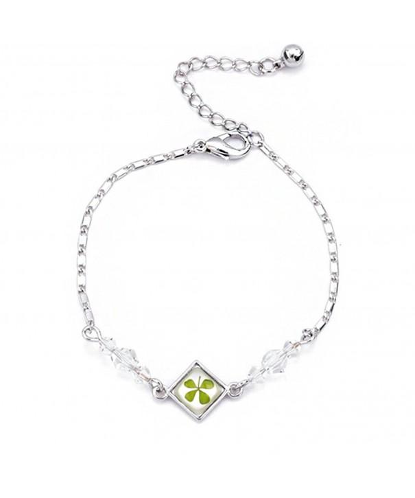 Stainless Clover Shamrock Square Bracelet