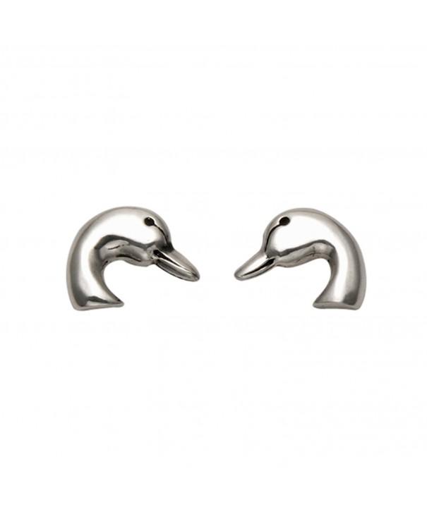 Small Sterling Silver Duck Earrings