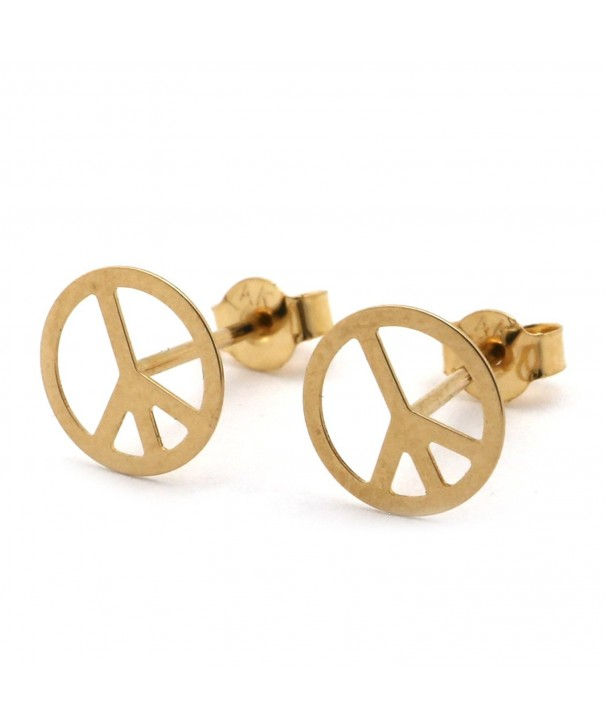Yellow Gold Peace Sign Earrings
