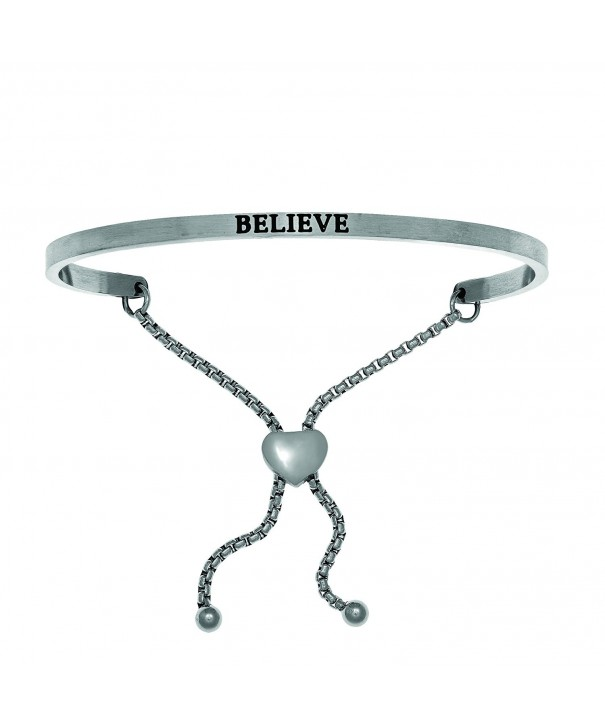 Intuitions Stainless Believe Bangle Bracelet