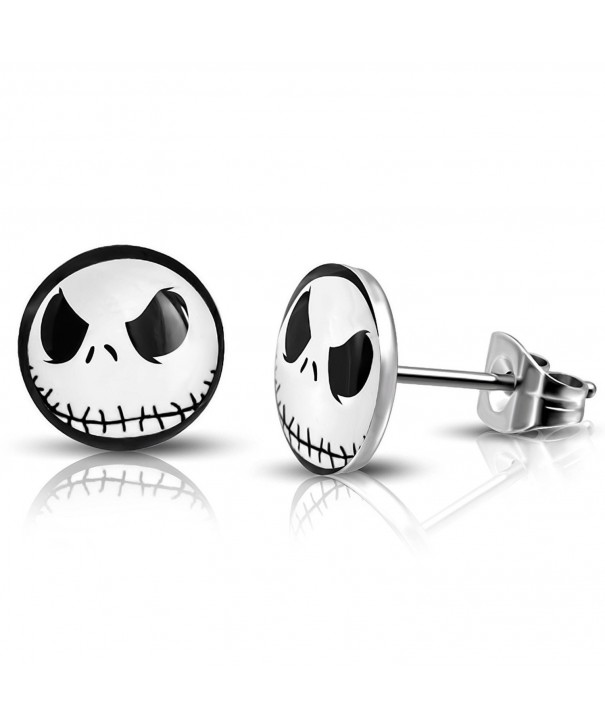 Stainless Skellington Circle Button Earrings