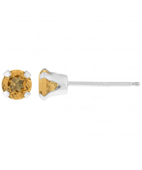 Round Yellow Citrine Birthstone Earrings