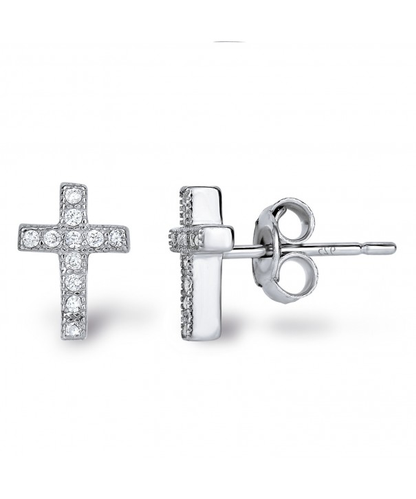 Rhodium Sterling Zirconia Classic Earrings