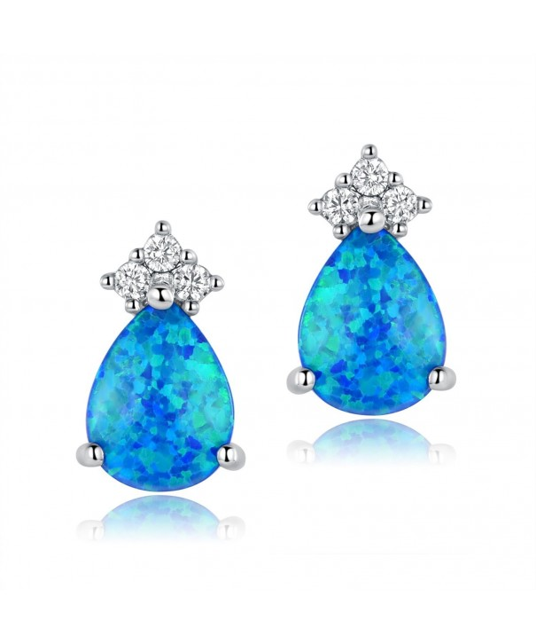 OPALTOP Platinum Teardrop Zirconia Earrings