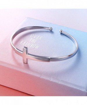 072d632b71546 S925 Sterling Silver Engraved Faith Hope Love Inspirational Cuff Cross  Bangle For Women CC186DI6DNX