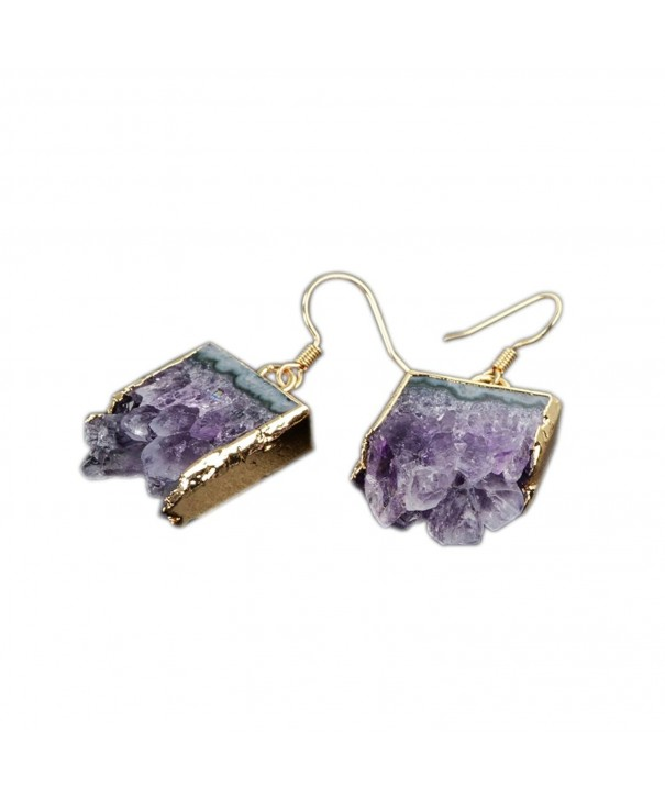 ZENGORI Plated Natural Amethyst Earrings