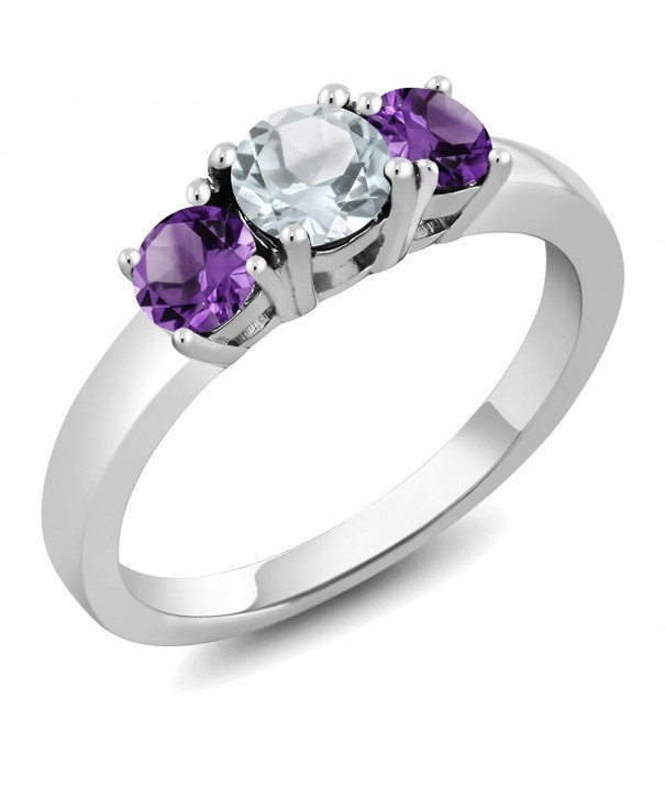 Aquamarine Amethyst Sterling 3 Stone Available