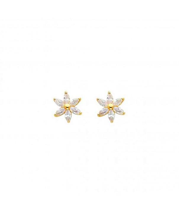 Womens Yellow Flower Earrings Screw
